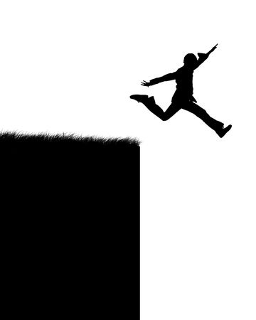 breakage: Illustration of the person which jumps in a precipice Stock Photo