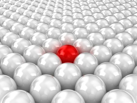 especial: Illustration of white balls, with one red inside Stock Photo