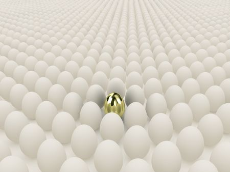 golden egg: Illustration of white eggs round one gold egg