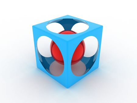 within: Illustration of a blue cube with sphere inside