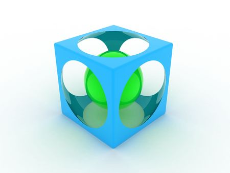 Illustration of a blue cube with sphere inside illustration