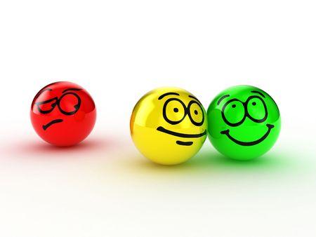 feeling positive: Ilustraci�n de las personas expresar emociones diferentes  Foto de archivo