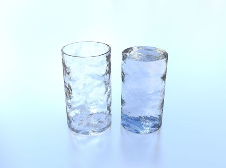 poured: Illustration of an ice glass with ice near it