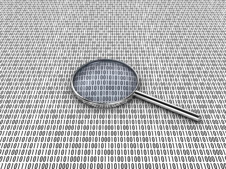 Figures of a binary code, are considered under a lens photo
