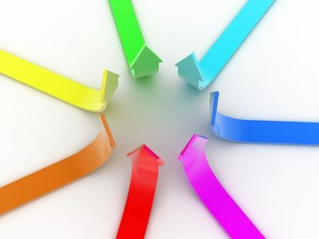 Illustration of arrows directed upwards as success illustration
