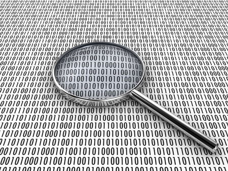 Figures of a binary code, are considered under a lens Stock Photo - 8249620