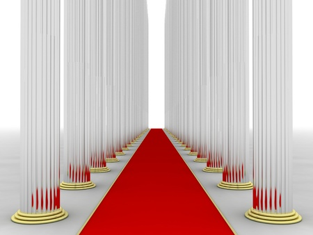 red rug: Illustration of columns with a red rug in the middle Stock Photo