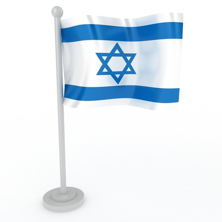 jews: Illustration of a flag of Israel on a white background