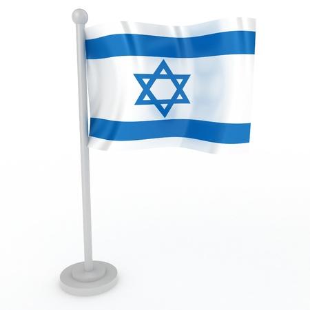 israeli: Ilustraci�n de una bandera de Israel sobre un fondo blanco