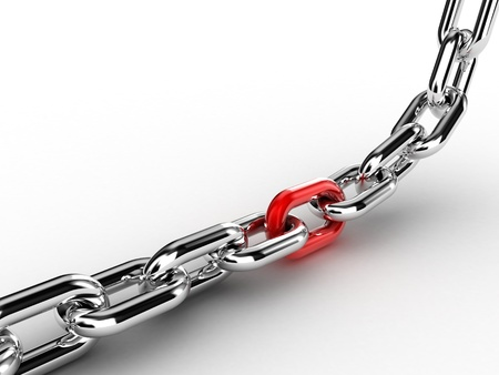 Illustration of a chain with one especial link