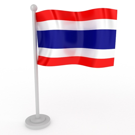 flag pole: Illustration of a flag of Thailand on a white background