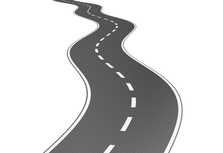 2 way: Illustration of grey road on a white background Stock Photo