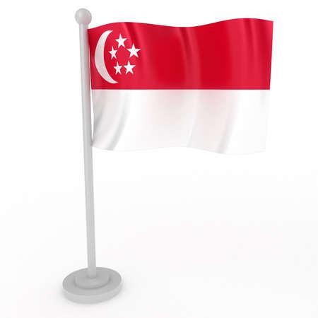 singaporean flag: Illustration of a flag of Singapore on a white background