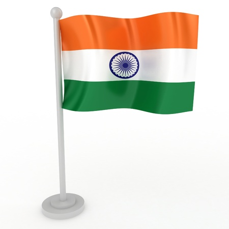 flag pole: Illustration of a flag of India on a white background Stock Photo