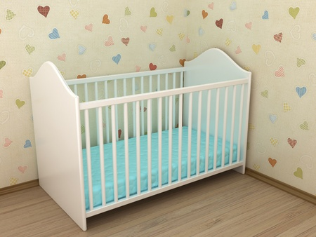 Illustration of a bed for the child in a sleeping room