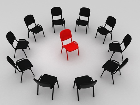 Illustration of many chairs standing round one