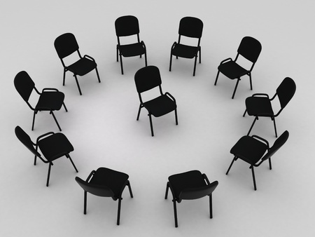 one trim: Illustration of many chairs standing round one