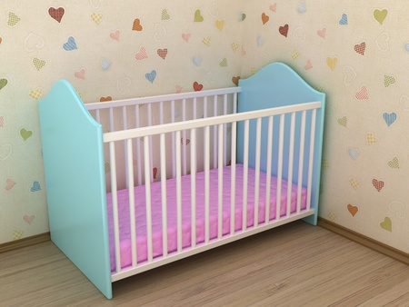 Illustration of a bed for the child in a sleeping room illustration