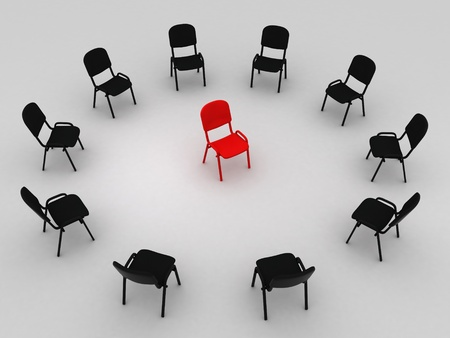 Illustration of many chairs standing round one Stock Illustration - 8617493