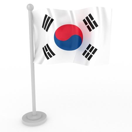 nacional: Ilustración de una bandera de Corea del Sur, sobre un fondo blanco Foto de archivo