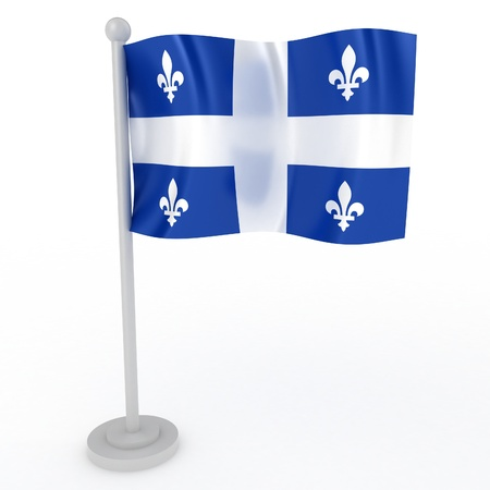 quebec: Illustration of a flag of Quebec on a white background Stock Photo