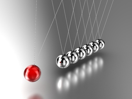 Illustration of the hanging  pendulum from seven spheres