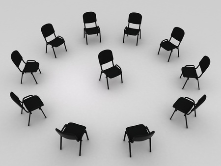 Illustration of many chairs standing round one illustration