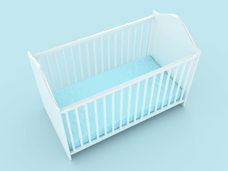restful: Illustration of a bed for the child on a light background