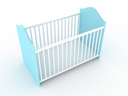 nursery room: Illustration of a bed for the child on a light background