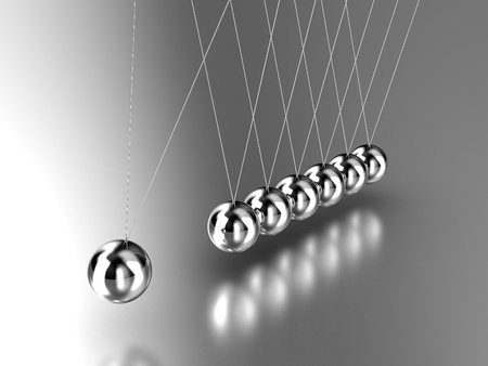 newton cradle: Illustration of the hanging  pendulum from seven spheres
