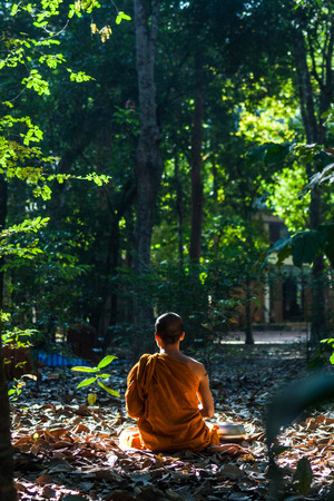cambodia sculpture: monks in the forest Stock Photo