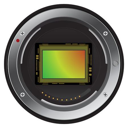 デジタル カメラ画像センサーを閉じます。ベクトル, 画像  イラスト・ベクター素材