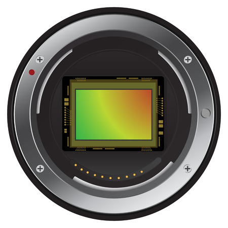 Close up Digital camera imaging sensor. vector, picture