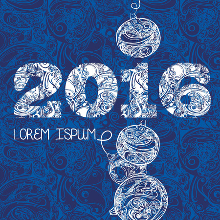 cristmas card: Christmas greeting card with cristmas ball and ornate background