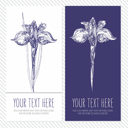 corporative: corporative card or banner with Hand drawing abstract decoration flower iris