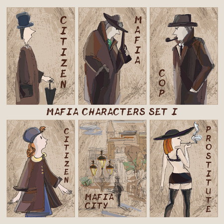 prostitute: Mafia city characters set.Cardgame. Citizen, mafia, cop, prostitute on absract background
