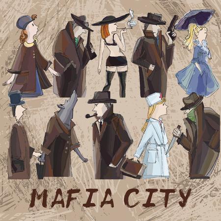 hand tekenen mafia stad karakters. rollenspel kaartspel op bruine landhuisachtergrond Stock Illustratie
