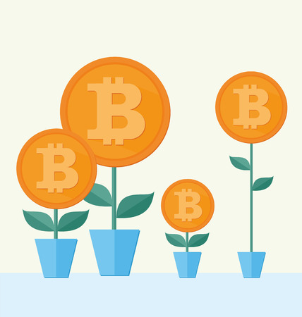cryptography: Vector Bitcoin symbol with flower growing. cryptography illustration