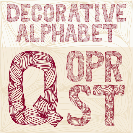 carved letters: Hand drawing Decorative ornate alphabet. q-t typography collection. abc