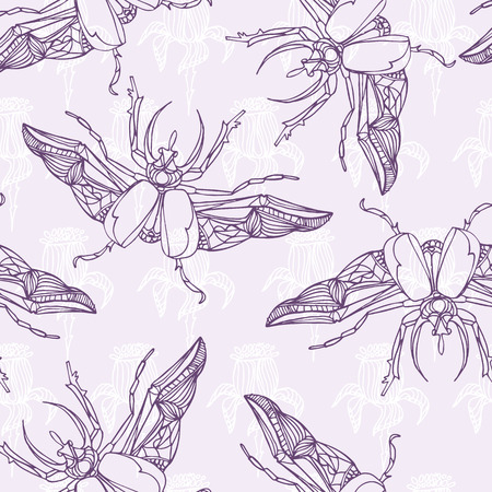 beetles: Hand drawn Beetles seamless pattern with flowers. vector illustration
