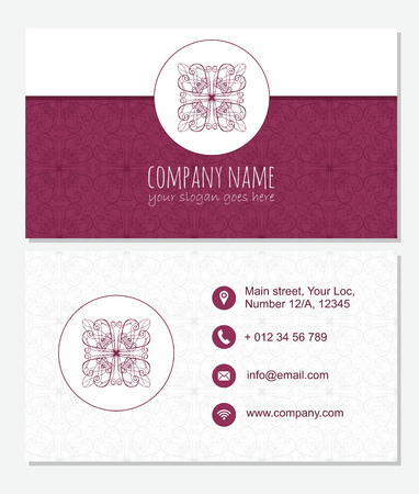 Vector decorative red  visiting card with abstract design element.  Front page and back page. Illustration