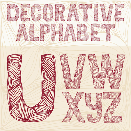 carved letters: Hand drawing Decorative ornate alphabet. u-z typography collection. abc
