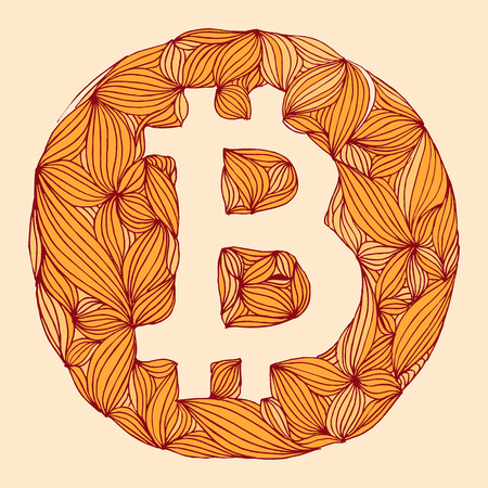 cryptography: Vector decorative hand drawing Bitcoin symbol. cryptography illustration Illustration