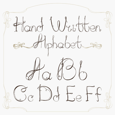 italics: Hand drawn decorative vintage vector ABC letters.Nice alphabet for your design. Illustration