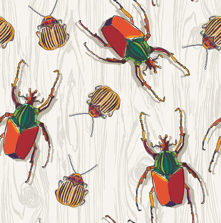 beetles: Hand drawn Beetles on wooden background. Seamless pattern.