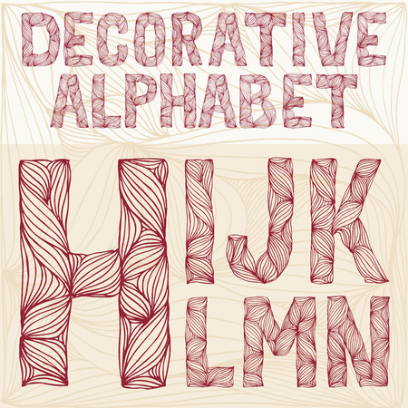 hn: Hand drawing Decorative ornate alphabet. h-n typography collection. abc