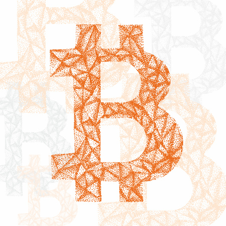 cryptography: Vector Bitcoin symbol. Hand drawn cryptography illustration