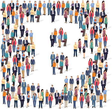 Gran grupo de personas que forman la señal de Bitcoin. ilustración vectorial