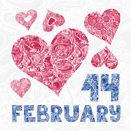 14 of february: Greeting card with decorative red hearts and letters 14 february on seamless background Illustration
