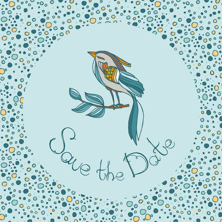 preety: bird and letters save the date on  hand drawn bsckground with dots.vector illustration  pastel color Illustration